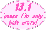 13.1 Small Pink Oval Half Crazy Sticker