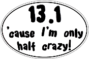 13.1 Small White Oval Half Crazy Sticker
