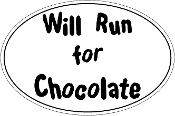 Will Run For Chocolate Oval Sticker