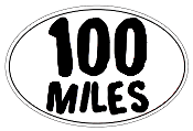 100 Mile Small White Oval Sticker